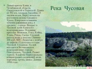 Река Чусовая Левый приток Камы, в Челябинской области, Свердловской и Пермской.
