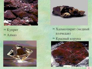 Куприт Алмаз Халькопирит (медный колчедан) Красный корунд