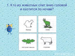 1. Кто из животных спит вниз головой и охотится по ночам?