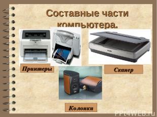 Составные части компьютера. Сканер Принтеры Колонки