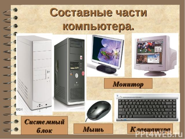 Составные части компьютера. Клавиатура Монитор Мышь Системный блок