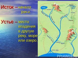 начало реки. место впадения в другую реку, море или озеро. Исток – Устье – (С) Ф