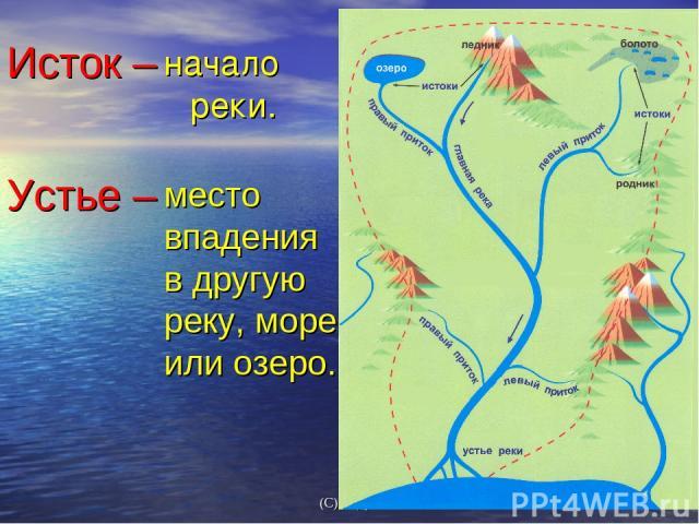 начало реки. место впадения в другую реку, море или озеро. Исток – Устье – (С) Федулова С А,2007