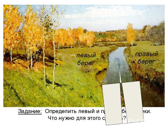 Задание: Определить левый и правый берег реки. Что нужно для этого сделать? левый берег правый берег