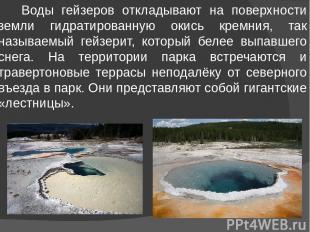 Воды гейзеров откладывают на поверхности земли гидратированную окись кремния, та