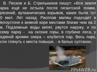 В. Песков и Б. Стрельников пишут: «Вся земля парка ещё не остыла после гигантско