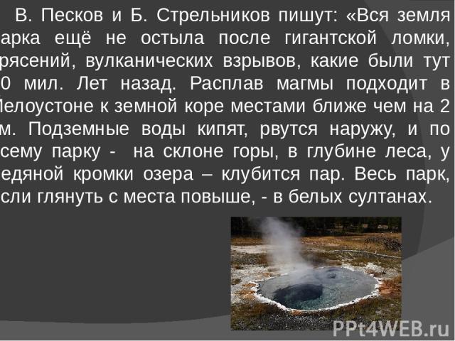 В. Песков и Б. Стрельников пишут: «Вся земля парка ещё не остыла после гигантской ломки, трясений, вулканических взрывов, какие были тут 50 мил. Лет назад. Расплав магмы подходит в Йелоустоне к земной коре местами ближе чем на 2 км. Подземные воды к…
