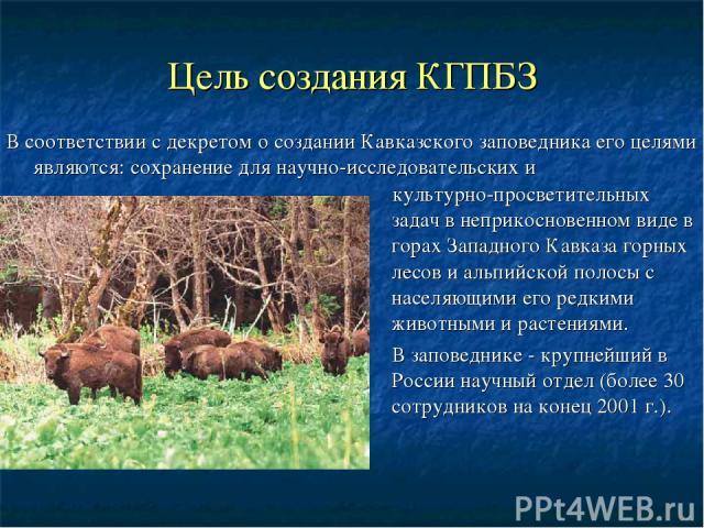 Цель создания КГПБЗ культурно-просветительных задач в неприкосновенном виде в горах Западного Кавказа горных лесов и альпийской полосы с населяющими его редкими животными и растениями. В заповеднике - крупнейший в России научный отдел (более 30 сотр…