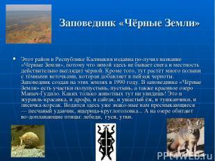 Заповедник «Чёрные Земли» Этот район в Республике Калмыкия издавна по лучил назв