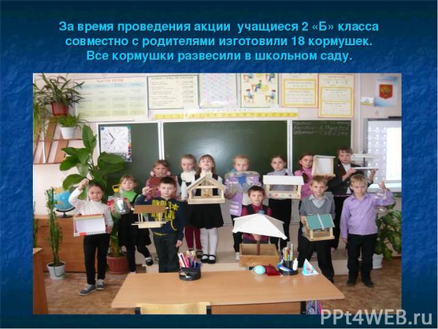 За время проведения акции учащиеся 2 «Б» класса совместно с родителями изготовили 18 кормушек. Все кормушки развесили в школьном саду.