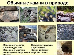 Обычные камни в природе Поверхность скалы Поверхность валуна Камни на дне реки Г