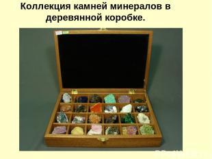 Коллекция камней минералов в деревянной коробке.