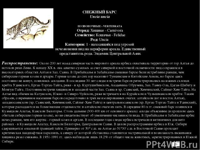 ПОЗВОНОЧНЫЕ - VERTEBRATA Отряд: Хищные - Carnivora Семейство: Кошачьи - Felidae Род: Uncia Категория: 1 - находящийся под угрозой исчезновения вид на периферии ареала. Единственный представитель рода. Эндемик Центральной Азии.  Распространение:…
