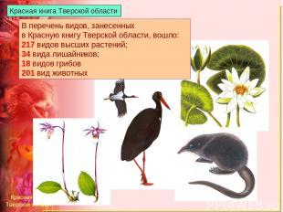 В перечень видов, занесенных в Красную книгу Тверской области, вошло: 217 видов