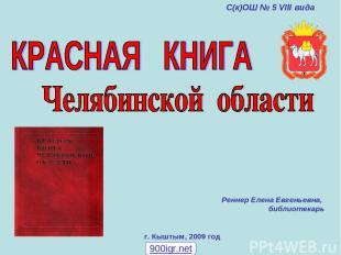 г. Кыштым, 2009 год Реннер Елена Евгеньевна, библиотекарь С(к)ОШ № 5 VIII вида 9