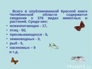 Всего в опубликованной Красной книге Челябинской области содержатся сведения о 3