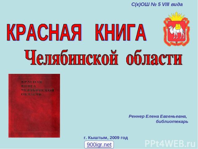г. Кыштым, 2009 год Реннер Елена Евгеньевна, библиотекарь С(к)ОШ № 5 VIII вида 900igr.net