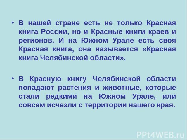 В нашей стране есть не только Красная книга России, но и Красные книги краев и регионов. И на Южном Урале есть своя Красная книга, она называется «Красная книга Челябинской области». В Красную книгу Челябинской области попадают растения и животные, …