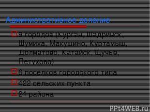 Административное деление 9 городов (Курган, Шадринск, Шумиха, Макушино, Куртамыш