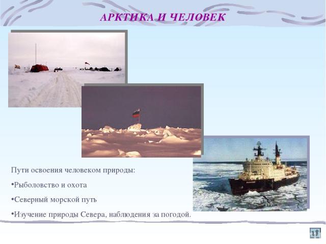 АРКТИКА И ЧЕЛОВЕК Пути освоения человеком природы: Рыболовство и охота Северный морской путь Изучение природы Севера, наблюдения за погодой.