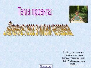Работу выполнил ученик 4 класса Гильмутдинов Нияз МОУ «Бакаевская СОШ» 5klass.ne