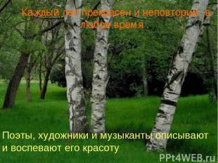 Каждый лес прекрасен и неповторим в любое время . Поэты, художники и музыканты о