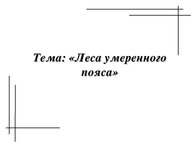 Тема: «Леса умеренного пояса»