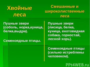 Хвойные леса Смешанные и широколиственные леса Пушные звери (соболь, норка,куниц