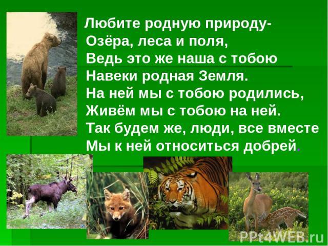 Любите родную природу- Озёра, леса и поля, Ведь это же наша с тобою Навеки родная Земля. На ней мы с тобою родились, Живём мы с тобою на ней. Так будем же, люди, все вместе Мы к ней относиться добрей.
