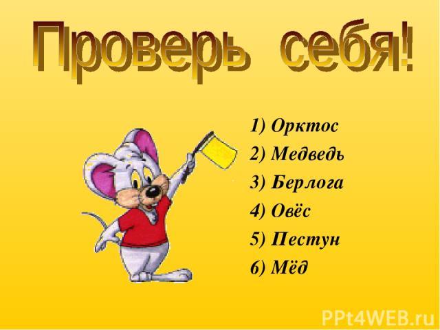 1) Орктос 2) Медведь 3) Берлога 4) Овёс 5) Пестун 6) Мёд