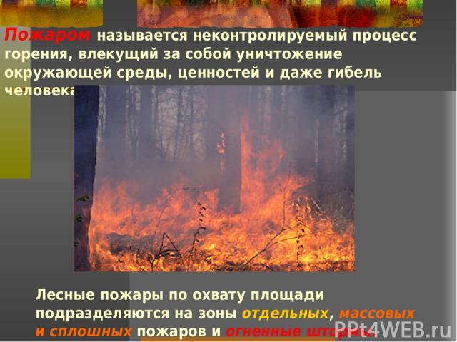 Пожаром называется неконтролируемый процесс горения, влекущий за собой уничтожение окружающей среды, ценностей и даже гибель человека. Лесные пожары по охвату площади подразделяются на зоны отдельных, массовых и сплошных пожаров и огненные штормы.