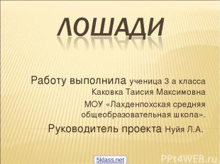 Работу выполнила ученица 3 а класса Каковка Таисия Максимовна МОУ «Лахденпохская