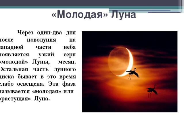 «Молодая» Луна Через один-два дня после новолуния на западной части неба появляется узкий серп «молодой» Луны, месяц. Остальная часть лунного диска бывает в это время слабо освещена. Эта фаза называется «молодая» или «растущая» Луна.