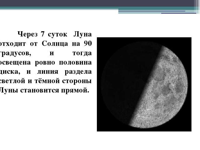 Через 7 суток Луна отходит от Солнца на 90 градусов, и тогда освещена ровно половина диска, и линия раздела светлой и тёмной стороны Луны становится прямой.