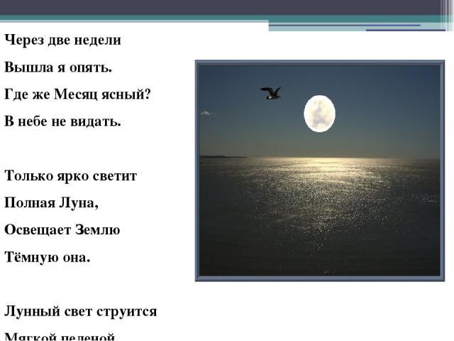 Через две недели Вышла я опять. Где же Месяц ясный? В небе не видать. Только ярко светит Полная Луна, Освещает Землю Тёмную она. Лунный свет струится Мягкой пеленой. А в душе – отрада, А в душе – покой.