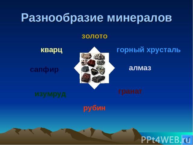 Разнообразие минералов золото горный хрусталь алмаз гранат рубин изумруд сапфир кварц