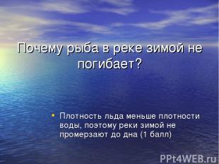 Почему рыба в реке зимой не погибает? Плотность льда меньше плотности воды, поэт
