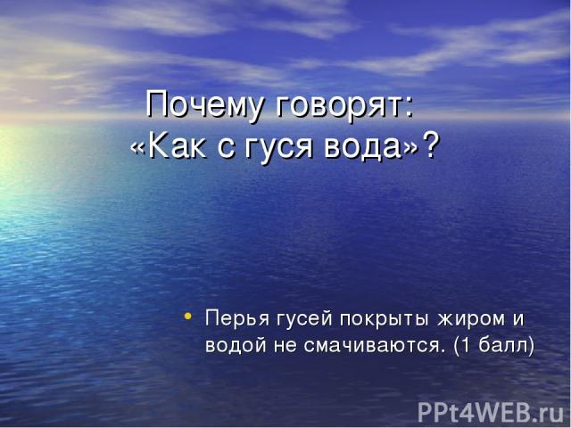 Почему говорят: «Как с гуся вода»? Перья гусей покрыты жиром и водой не смачиваются. (1 балл)