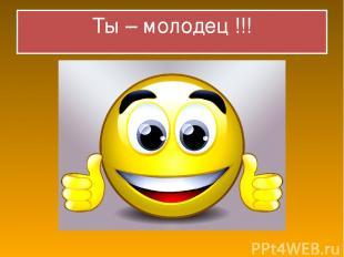 Ты – молодец !!!