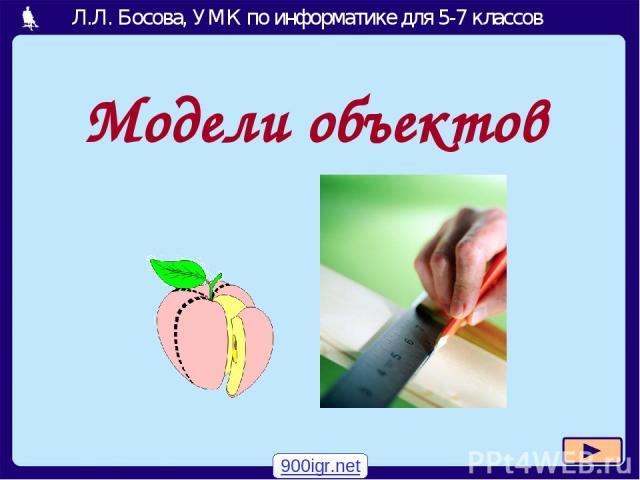 Модели объектов 900igr.net Л.Л. Босова, УМК по информатике для 5-7 классов Москва, 2007