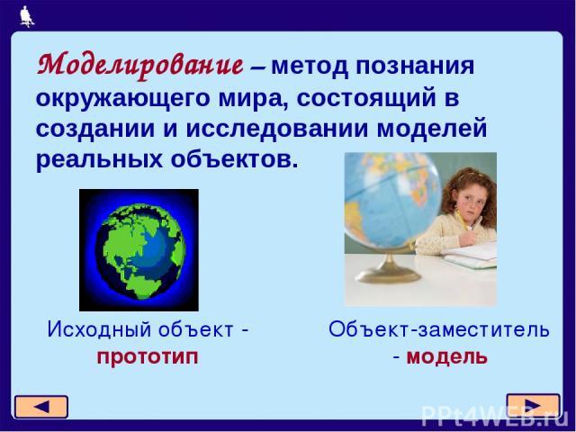 Моделирование – метод познания окружающего мира, состоящий в создании и исследовании моделей реальных объектов. Исходный объект - прототип Объект-заместитель - модель