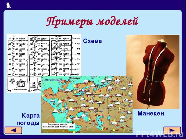 Примеры моделей Манекен Карта погоды Схема