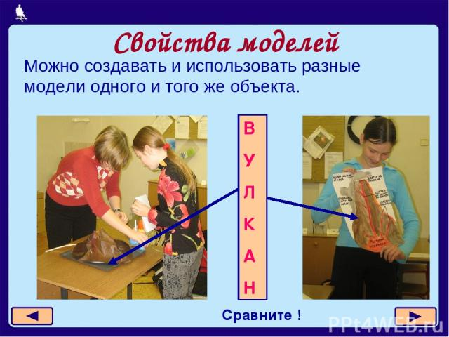 Свойства моделей Можно создавать и использовать разные модели одного и того же объекта. Сравните ! В У Л К А Н