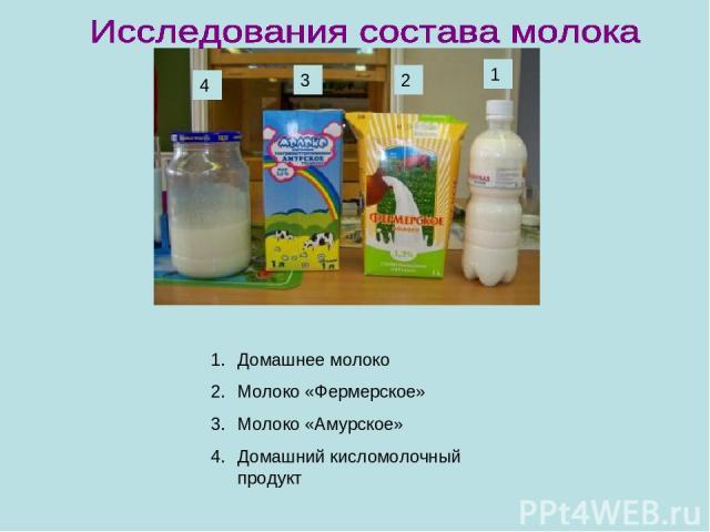 4 3 2 1 Домашнее молоко Молоко «Фермерское» Молоко «Амурское» Домашний кисломолочный продукт
