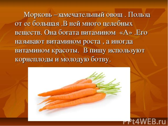 Морковь –замечательный овощ . Польза от ее большая .В ней много целебных веществ. Она богата витамином «А» .Его называют витамином роста , а иногда витамином красоты. В пищу используют корнеплоды и молодую ботву.