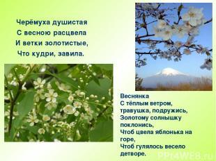 Веснянка С тёплым ветром, травушка, подружись, Золотому солнышку поклонись, Чтоб