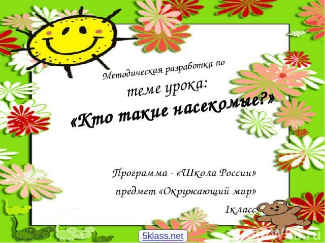 Методическая разработка по теме урока: «Кто такие насекомые?» Программа - «Школа России» предмет «Окружающий мир» 1класс 5klass.net