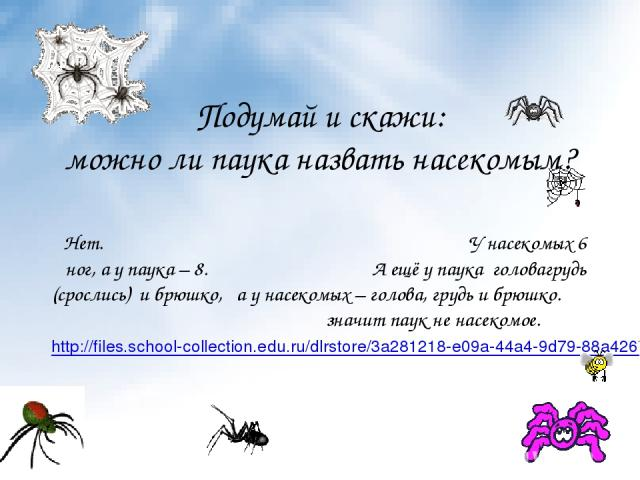 Подумай и скажи: можно ли паука назвать насекомым? Нет. У насекомых 6 ног, а у паука – 8. А ещё у паука головагрудь (срослись) и брюшко, а у насекомых – голова, грудь и брюшко. значит паук не насекомое. http://files.school-collection.edu.ru/dlrstore…