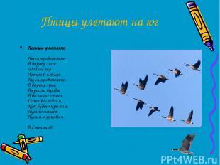 Птицы улетают на юг Птицы улетают Птиц провожают В дорогу леса: Долгое эхо Летит