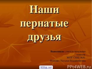 Наши пернатые друзья Выполнила: учитель начальных классов МОУ СОШ №30 Фоменко На